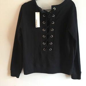 NWT Lace Up Back  Black Sweatshirt